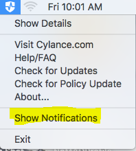 Disable Notifications from Cylance Mac