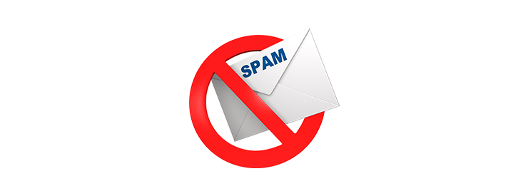 Red circle with a slash through the middle over an envelope marked as SPAM.