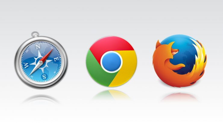 Safari, Chrome, and Firefox browser icons displayed next to each other.