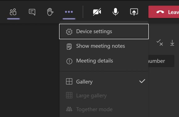 Screenshot of the device settings menu in Teams