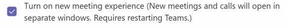 "Screenshot of the ""Turn on new meeting experience"" menu option."