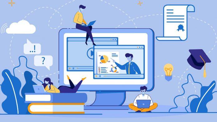 Decorative illustration of digital learning.