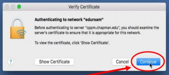 """Screenshot of the MacOS network certificate message with a red arrow pointing to the """"Continue"""" button."""