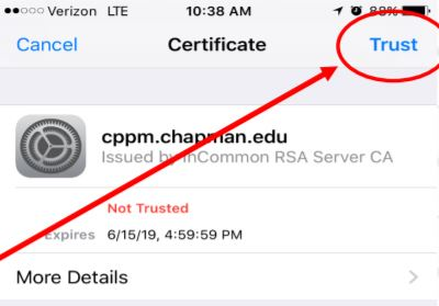 """Screenshot of the iPhone network certificate message with a red arrow pointing to the """"Trust"""" button."""