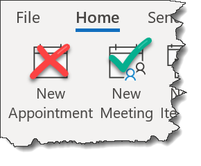Screenshot of the New appointment and New Meeting buttons in Outlook Calendar. New Meeting has a green checkmark and New Appointment has a red X.