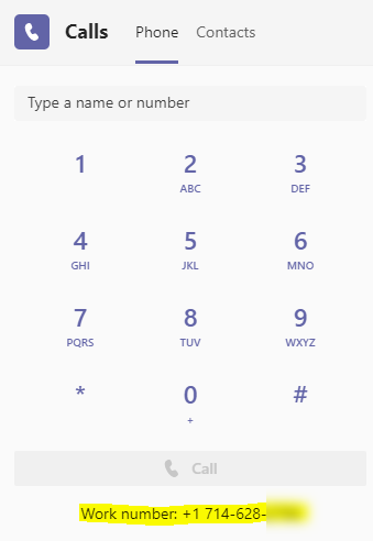 Screenshot of the Team phone keypad with a phone number highlighted at the bottom.