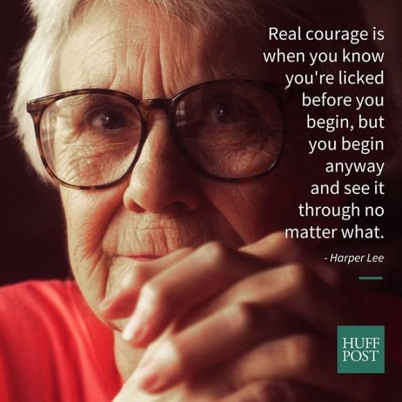 Quote and picture of Harper Lee.