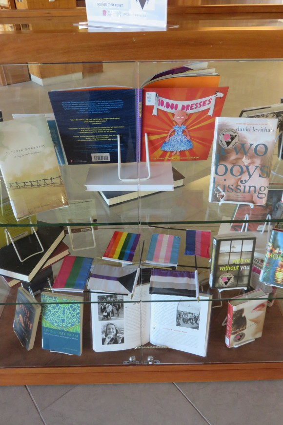 Books in display case.
