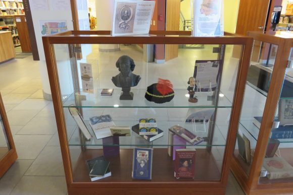 Items in display case.