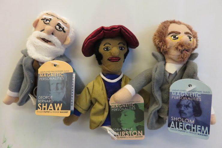 Finger puppets of famous authors.