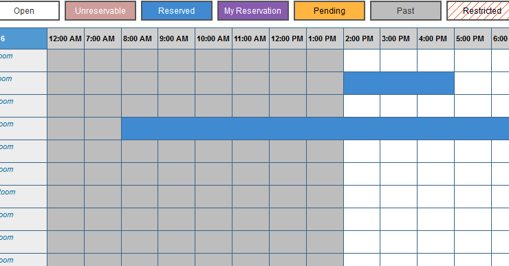 Screenshot of room booking process