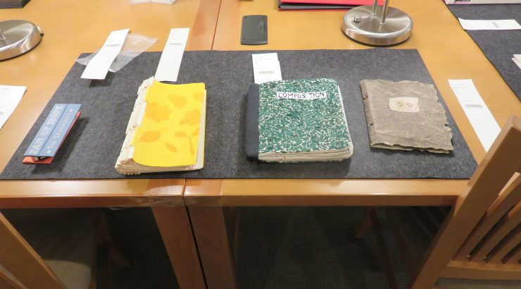 Four artists' books displayed on a wooden table with their call numbers.