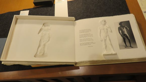 An open artist's book, displaying Michelangelo's David made out of pressed paper.