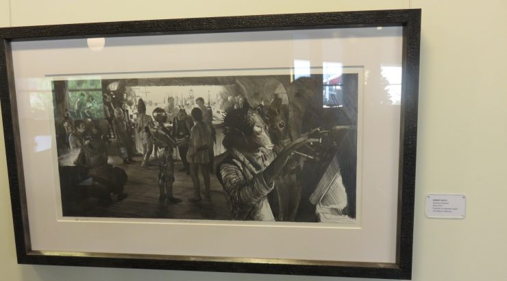 Photograph of a drawing of the cantina scene from Star Wars Episode IV