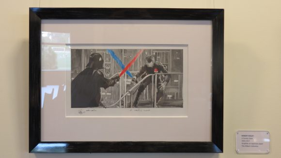 A photograph of a drawing of the lightsaber battle between Luke Skywalker and Darth Vader in The Empire Strikes Back