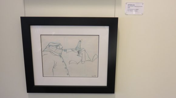 Photograph of a drawing of Daffy Duck and Slasher