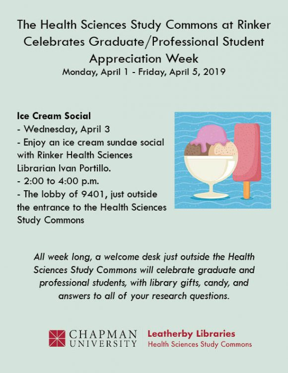 Flyer containing clip art image of ice cream, and the information about the Rinker campus included in the blog post.