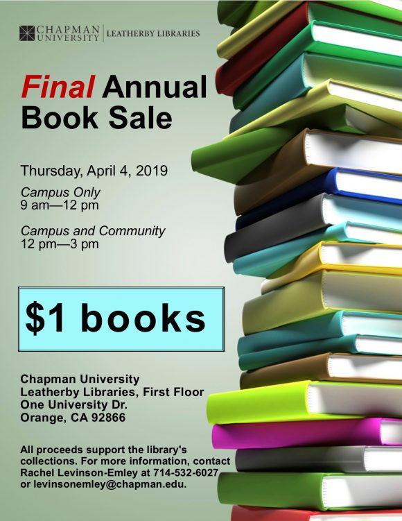 Flyer containing all the information included in this post, along with an image of a stack of books.