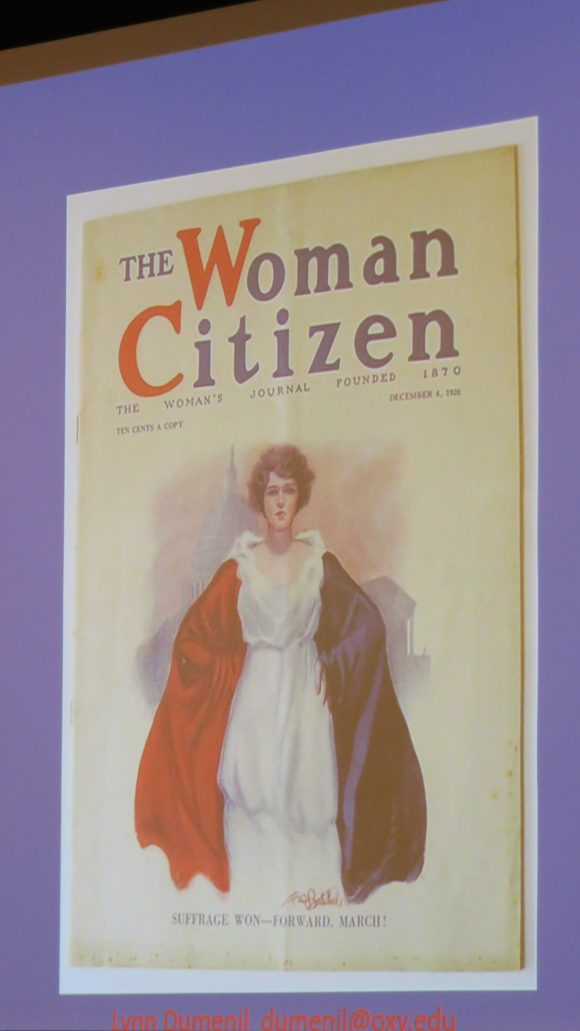 "Photograph of a slide depicting a journal cover reading ""The Woman Citizen,"" with a woman in red, white, and blue"