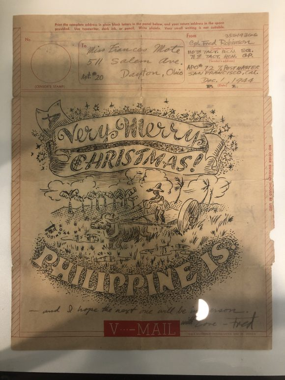 "Scanned image of a ""Very Merry Christmas"" letter sent from the Philippines Islands"