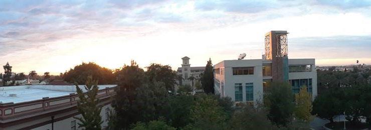 Panoramic view of the area surrounding Orange, taken from the fourth floor terrace of the Leatherby Libraries