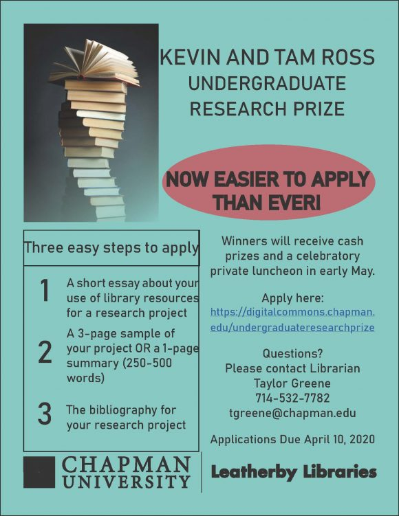 Flyer with a teal background and a stock image of a stack of books advertising the contest described in this post. Text is the same as the post.