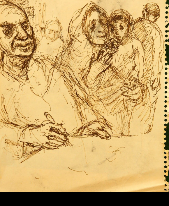 Sketchbook drawing in black ink on yellow paper. Foreground contains a man holding a writing instrument, with a woman wearing a headscarf and holding a child to his right. The background contains rough outlines of other figures.