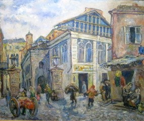 Impressionist-style painting of a busy early 20th-century European street