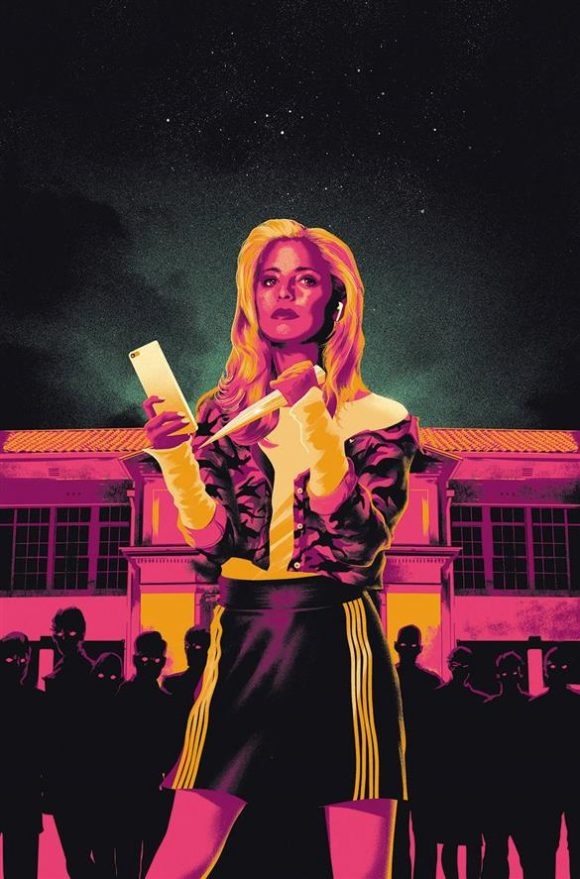 Stylized cover of a comic book, depicting Sarah Michelle Gellar as Buffy the Vampire Slayer, holding a stake in one hand and an iPhone in the other, with Sunnydale High School and silhouetted figures with red eyes behind her. The image is in shades of pink and orange.