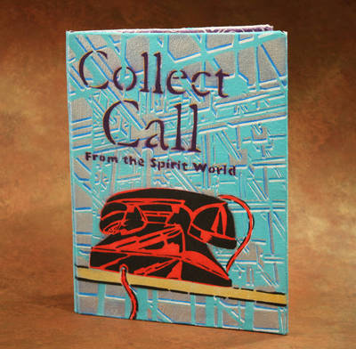 "Cover of an artists' book titled ""Collect Call,"" with an illustration of a red and black telephone over a blue and grey background"