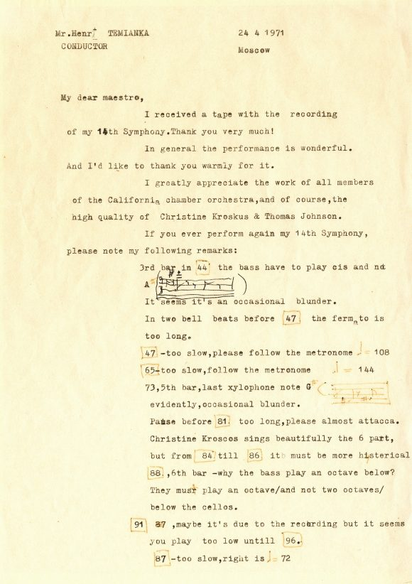 Page of a typewritten letter on yellowed paper, with handwritten notes.