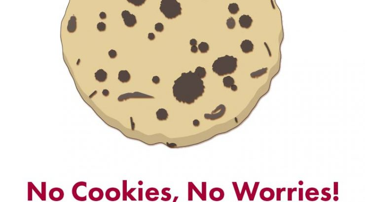 Logo of a chocolate chip cookie. Below the cookie, large red text reads,