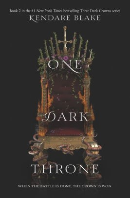 Cover of the book One Dark Throne, which features a medieval-looking metal throne on a black background.