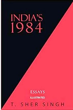 Cover of India's 1984. The cover is red and black, divided diagonally by a line from the bottom left corner to the top right corner. The left/top half of the cover is black, with red font, and the right/lower half is red, with white font