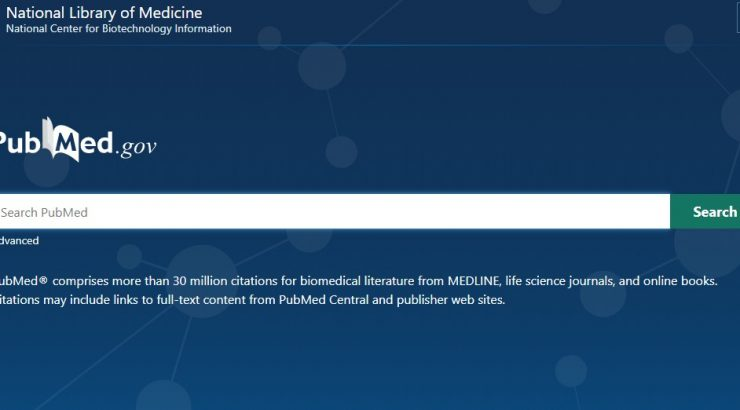 Header from the PubMed website, which has a blue background and a white search bar