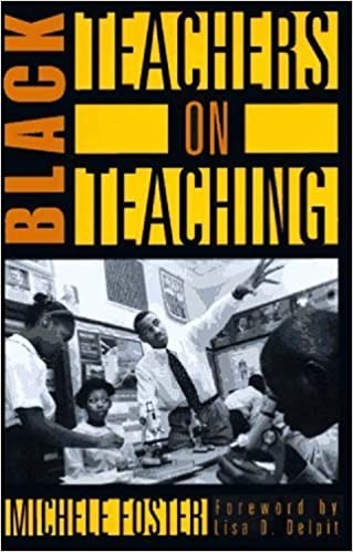 The cover of the book Black Teachers on Teaching. The cover is black, with orange and yellow font, and a black and white picture of a Black male teacher in a classroom with Black students.
