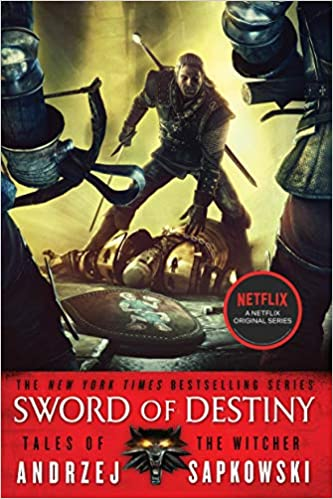Cover of Sword of Destiny. Cover features a stylized illustration of a warrior in medieval fantasy garb battling with other figures