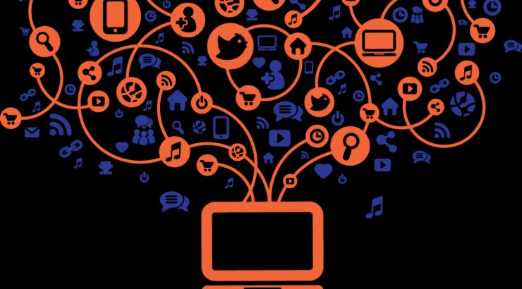 Clipart-style illustration in orange and blue on a black background with a laptop at the bottom of the image, with many icons representing the internet and information in a tangle above it.