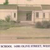 "Newspaper photograph of the Hoover School with text across the bottom that reads, ""HOOVER SCHOOL 14381 OLIVE STREET, WESTMINSTER, CA."""