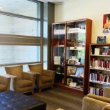 Chairs and bookshelves in the Alumni Association Reading Alcove