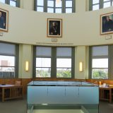 Photograph of the Marge Stegemeier Rotunda Reading Room on the 3rd floor of the Leatherby Libraries, empty.