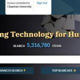 "Header for the IEEE Electronic Library, which shows a search bar under the heading ""Advancing Technology for Humanity"" over an image of a Black person's hand touching fingertips to the hand of a robot."