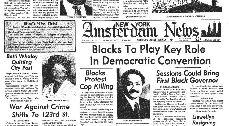 Black and white scan of a July 1976 edition of the New York Amsterdam News. The main headline reads,