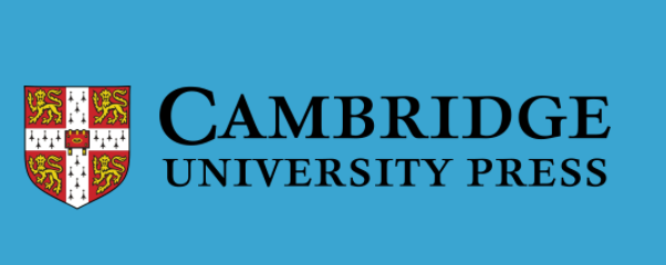 Logo of the Cambridge University Press on a blue background