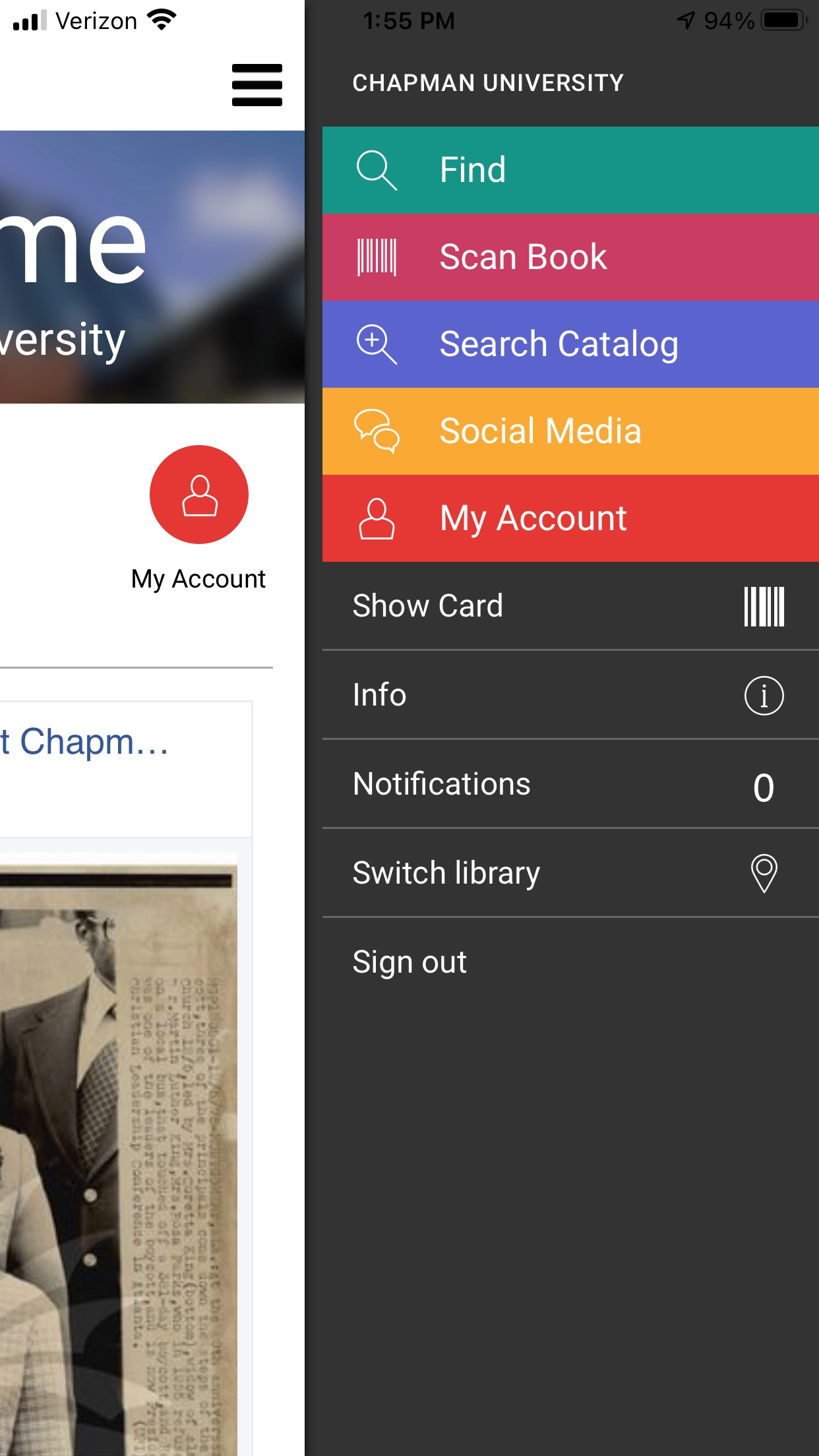 Screen capture of the MyLibrary! app