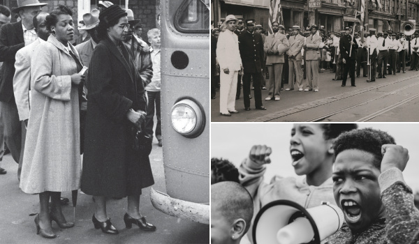 Collage of three black and white photos of important moments in African American history