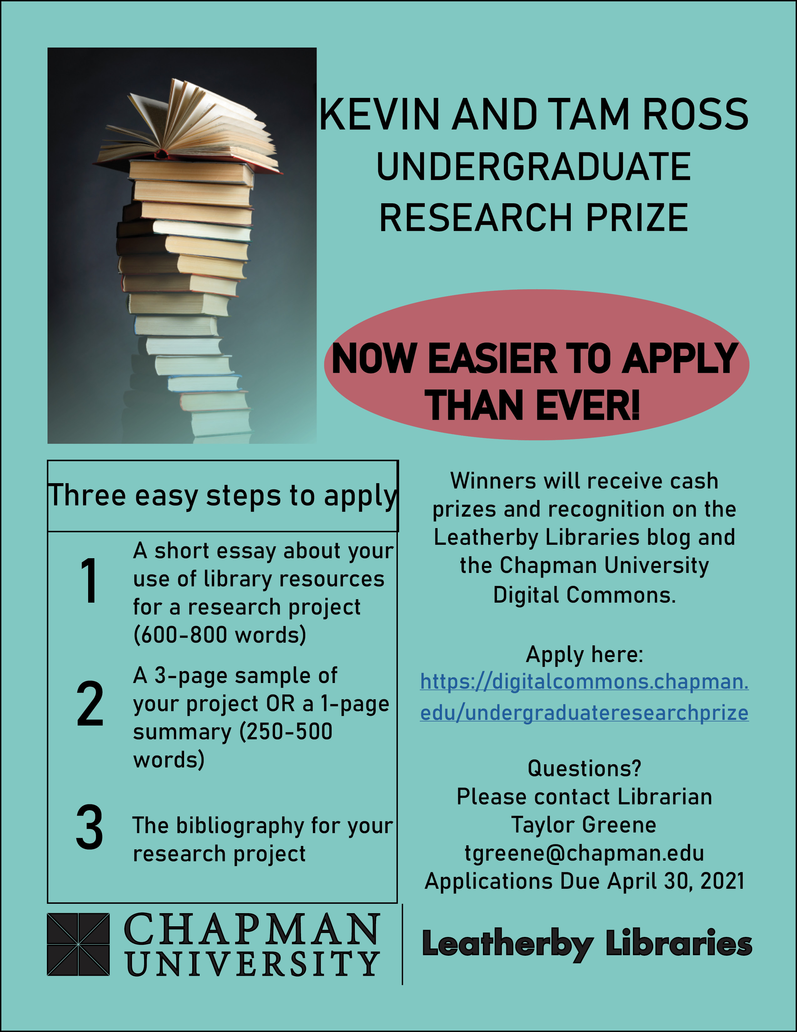 Flyer for the 2021 Kevin and Tam Ross Undergraduate Research Prize