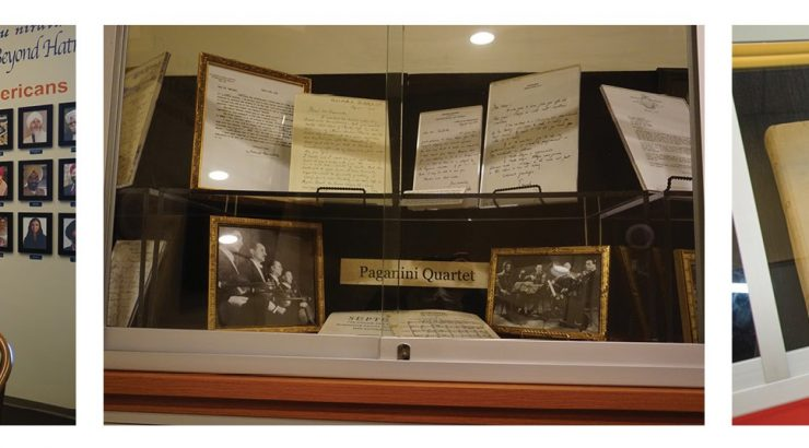 Three photographs next to each other, each showing materials inside a group study room.