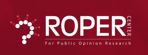 White text on red background. Logo for the Roper Center for Public Opinion Research
