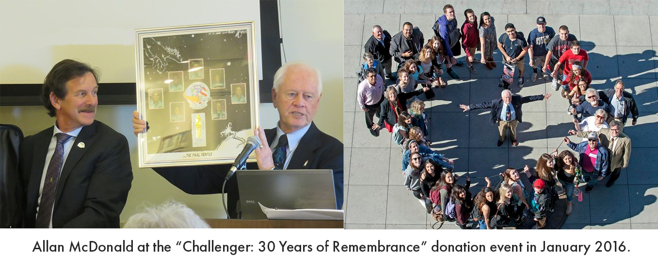 "Collage of two photos. In the photo on the left, a man is standing behind a podium, holding up a framed plaque, while a man sits to the left smiling up at him. In the photo on the right, a group of people are standing in the shape of an O-ring. Text across the bottom reads, ""Allan McDonald at the ""Challenger: 30 Years of Remembrance"" donation event in January 2016."""